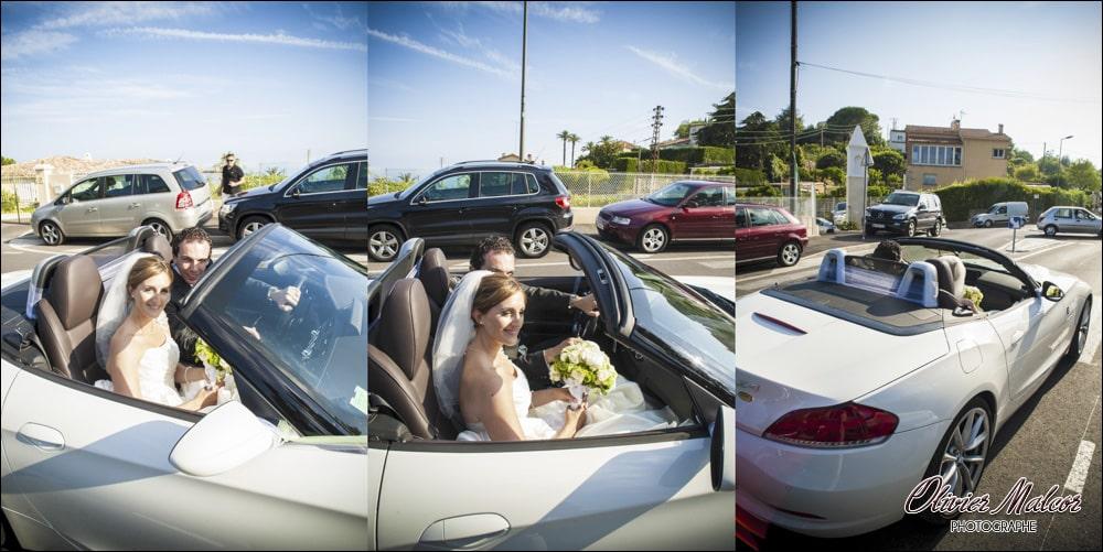 Une voiture décapotable peut décoiffer la coiffure de la marié, il ne faut pas rouler trop vite !