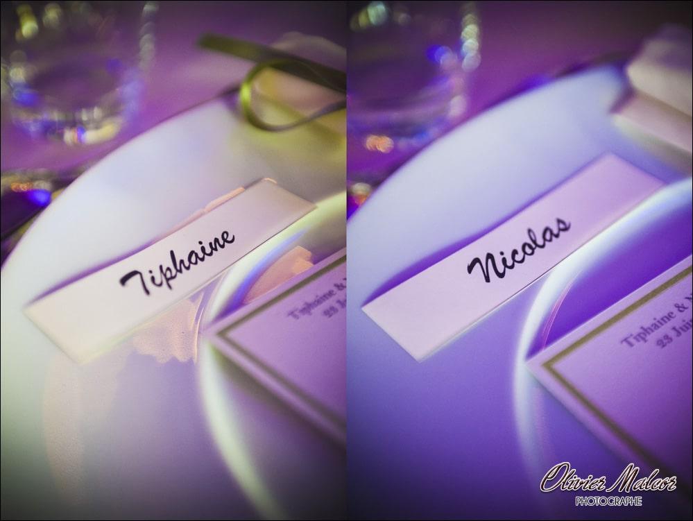Les étiquettes pour les tables des mariages.