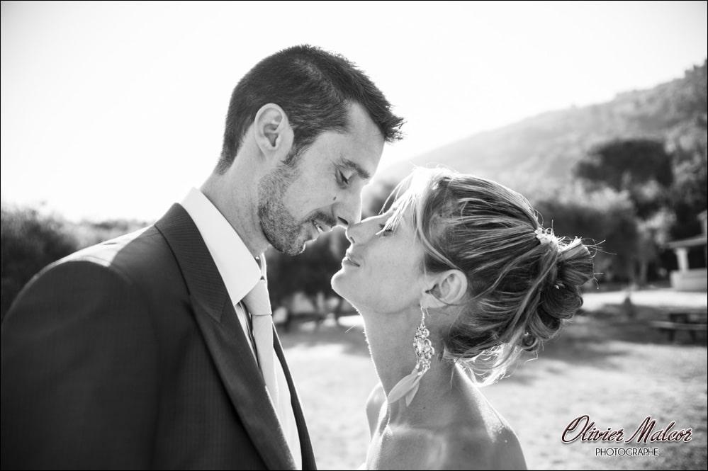 Baiser des mariés parc à Nice