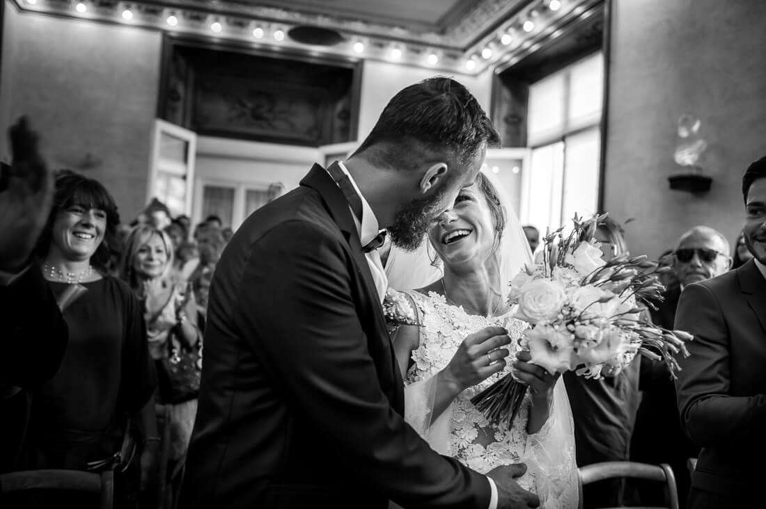 Sourire de la marié au moment de dire